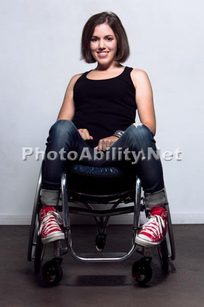 Woman in a wheelchair in the studio