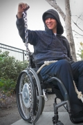 disabled;disability;access;accessible;inclusive;wheelchair;male;man;female;woman;outdoors;creative