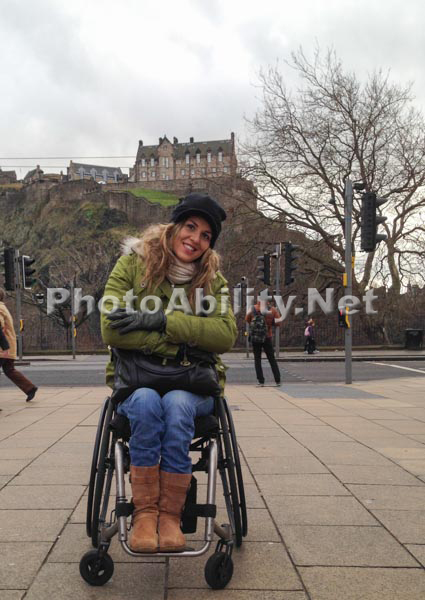 Woman in a wheelchair exploring the sights of Scotland