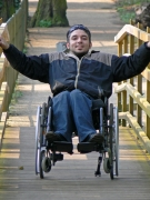 disability;wheelchair;disabled;bridge;forest;country;lane;trail;man;male;england;uk;ipswich-national-park