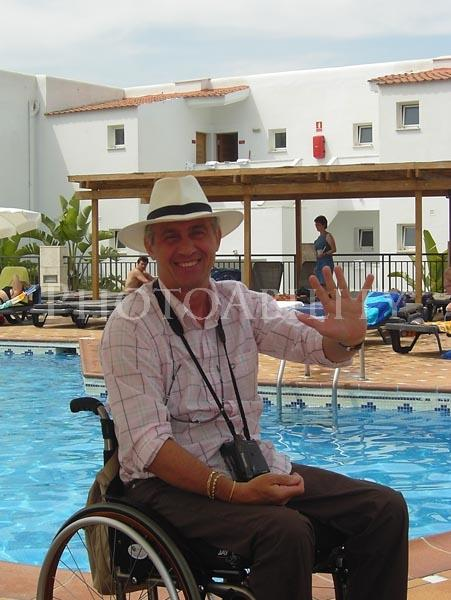 Tourist at a resort pool