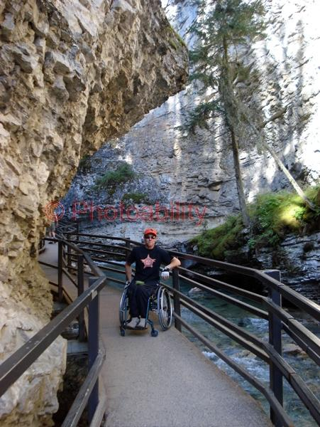 You man in a wheelchair touring the Canadian Rockies