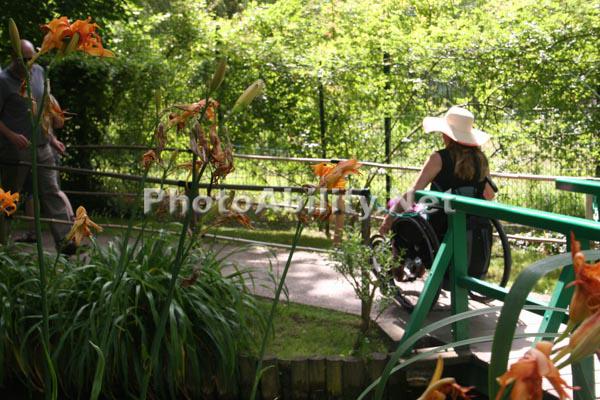 Woman in a wheelchair in Monet's Garden
