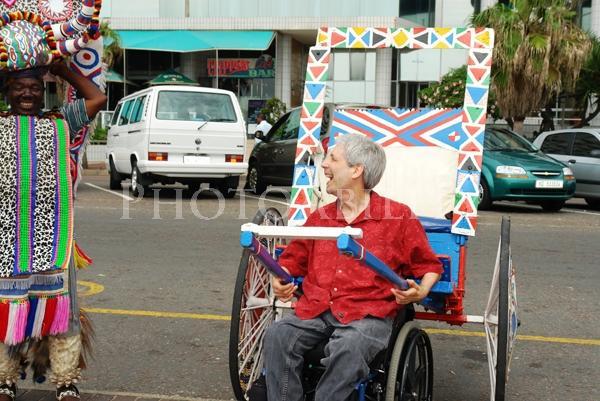 Scott Rains commandeers a traditional Zulu cart in Durban, South Africa