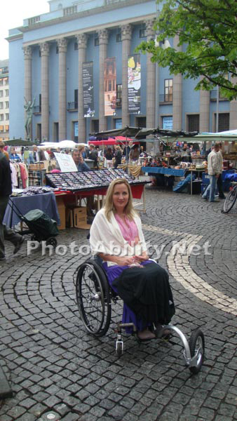 Deborah Davis on a wheelchair tour of Stockholm Sweden