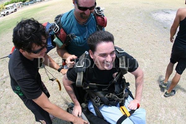Manin his wheelchair after his parachute jump