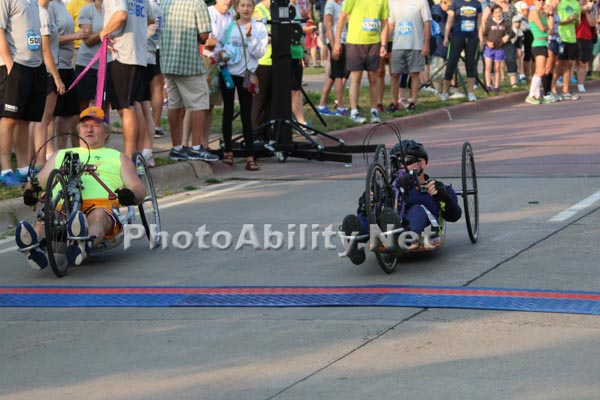 Hand cycles in a marathon road race