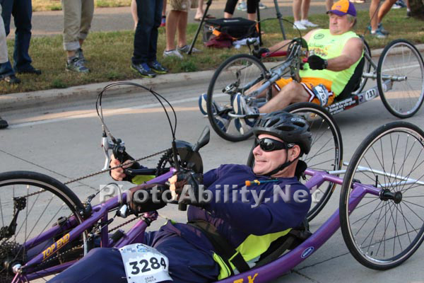 Disabled competitors in a half marathon event