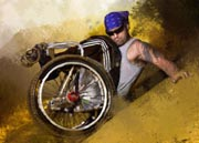 Fine-art-painting-of-wheelchair-extreme-adventure-by-Tara-Richardson.-Based-on-an-image-by-Paul-Rogers.