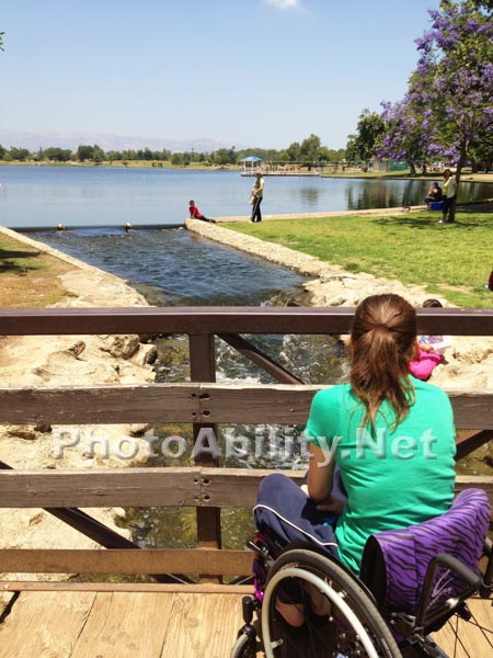 Girl in a wheelchair in the park