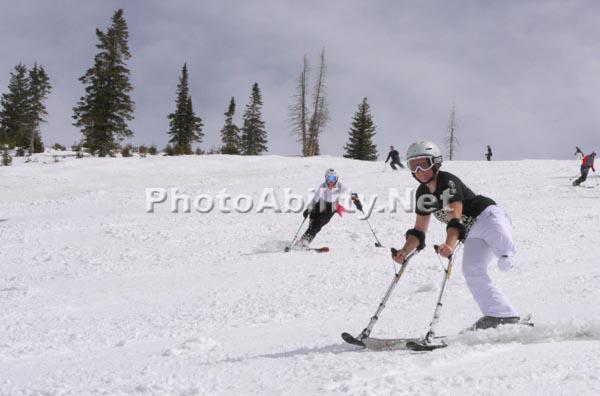 Children in an adaptive ski program
