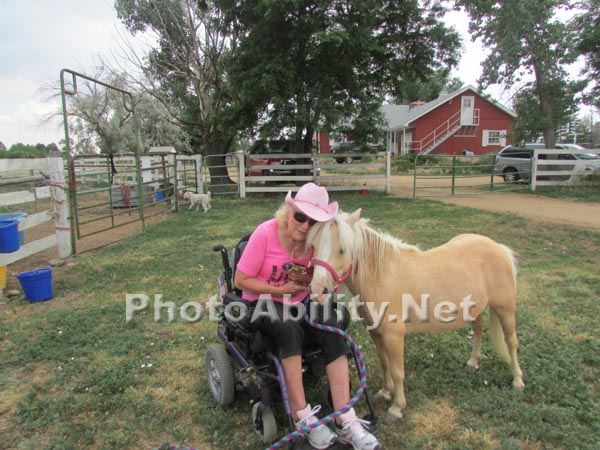 Woman in a wheelchair with her pony