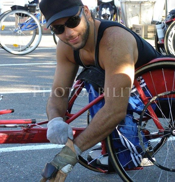 wheelchair;male;man;disability;disabled;racing chair;road cycling;road race;wheelchair racing