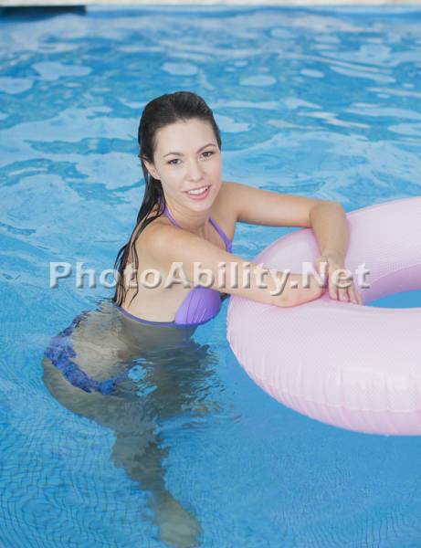Young woman in a swimming pool