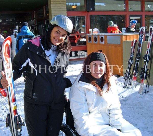 Young woman in a wheelchair at Breckenridge Snow Resort