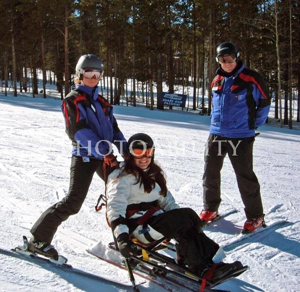Young woman learning to ski at Breckenridge