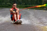 Man-on-water-sit-ski-in-competition