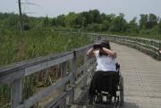 Woman-in-wheelchair-birdwatching-in-wetland