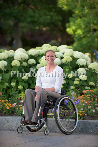 Young woman using a wheelchair exploring Salt Lake City