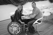 Woman-using-wheelchair-visiting-the-Raleigh-Museum-of-Art-with-her-Husband