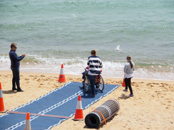 Official opening of the Mt Martha lifesaving club accessible beach. Mt Martha is the first beach on Melbourne's Mornington Peninsula to offer accessible beach facilities for people with a disability including full accessible change facilities and now beach matting to the waters edge. The matting has been made possible by the Mornington Peninsula Shire, Mt Martha Lifesaving Club and the Mornington Peninsula Disabled Surfers Association.