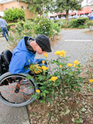 Man-using-wheelchair-smelling-garden-flowers