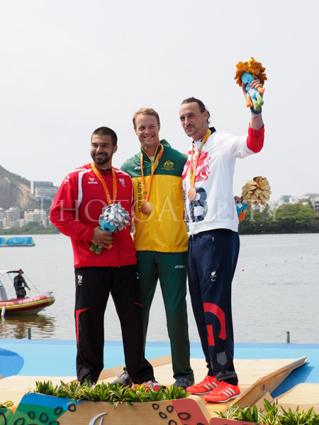 Rio 2016 Paralympic Games Inaugural Canoe Sprint Competition. Men's KL2 Final, Gold Curtis McGrath Australia, Silver Markus Swoboda Austria, Bronze Nick Beighton Great Britain