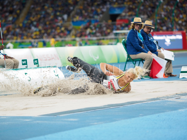 Womans T42 Long Jump final at the Rio Paralympic Games. Won by Vanessa Low, Germany, setting a new world record.