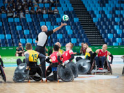 Rio-Paralympic-Games.-Opening-game-of-the-wheelchair-rugby-competition,-pool-A-match-between-the-Australia-Steelers-and-Great-Britain